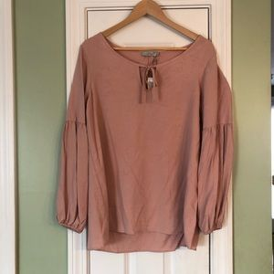 Dalia Keyhole Tie Pink Peasant Top Blouse